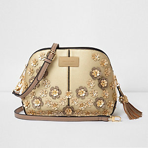Gold metallic 3D flower cross body bag