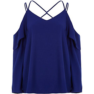 Cobalt blue cold shoulder cross neck blouse