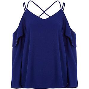 Kobaltblauwe schouderloze blouse met gekruiste bandjes
