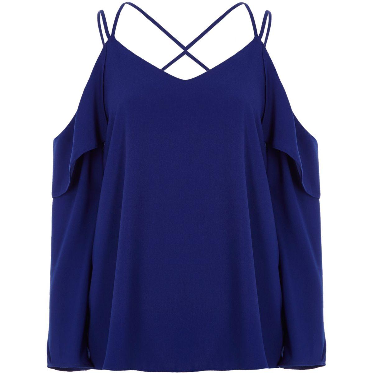 Kobaltblaue Bluse mit Schulterausschnitten