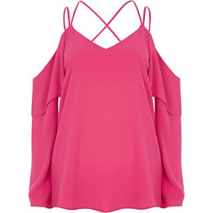 Pink cold shoulder cross neck top