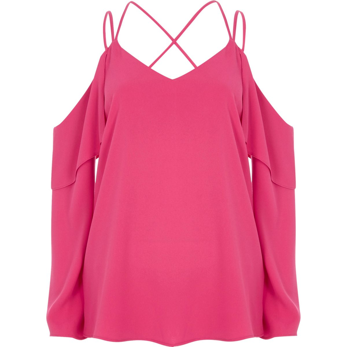 Pink cold shoulder cross neck top