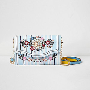 Blue stripe embroidered cross body chain bag