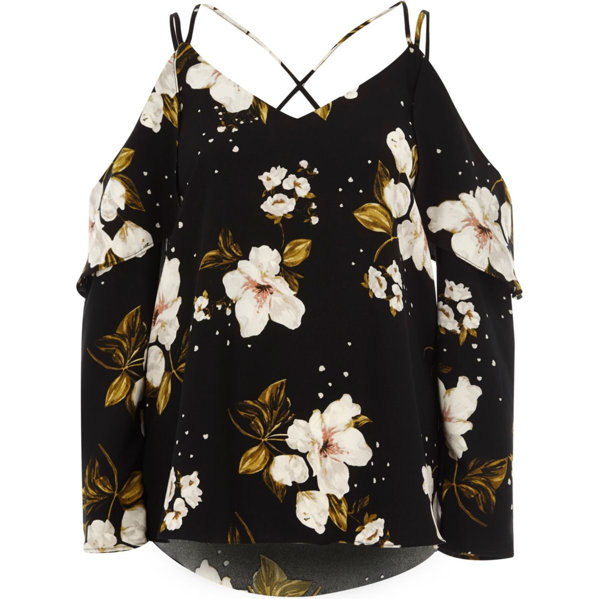 Black floral frill cross back bardot top