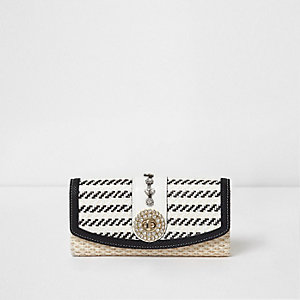 Cream embellished woven purse