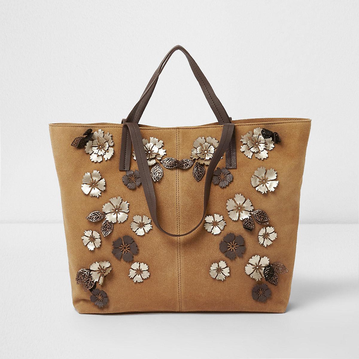 Tan suede 3D flower detail large tote bag