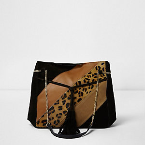 Black animal panel suede slouch chain bag