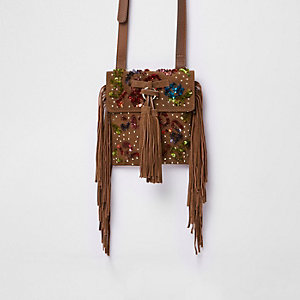 Tan suede sequin fringe cross body bag