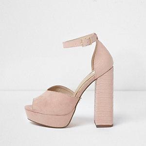 Roze platte peeptoe sandalen