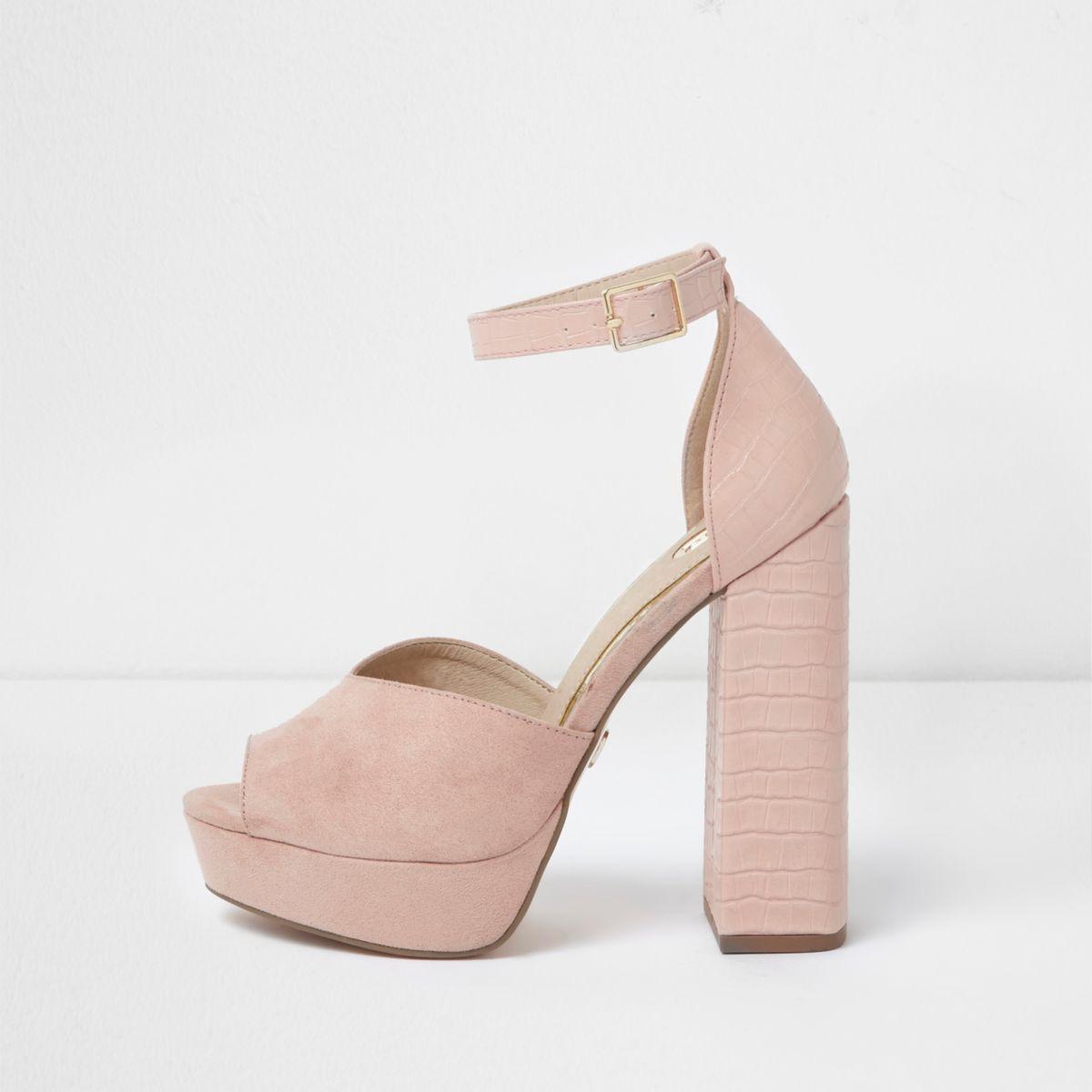 Pink peep toe platform sandals