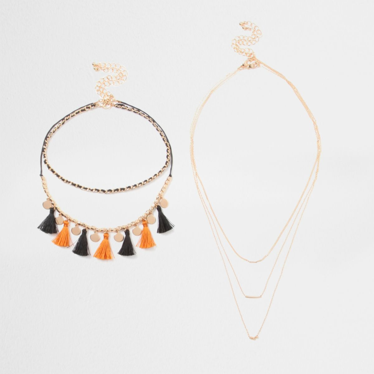 Orange tassel chain draper choker set