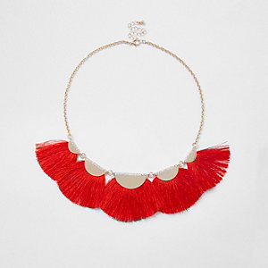 Red tassel fan necklace
