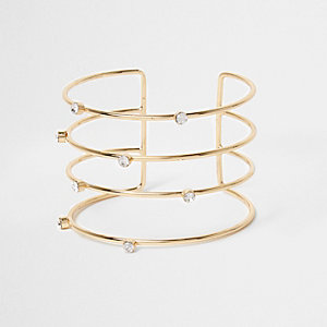 Gold tone rhinestone cuff bracelet