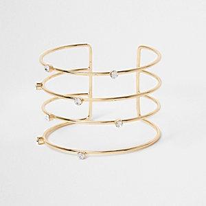 Goudkleurige brede armband met stras