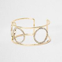 Gold tone diamante pave circle cuff bracelet