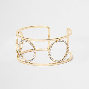 Gold tone diamante pave circle cuff bracelet