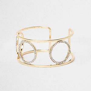 Gold tone rhinestone pave circle cuff bracelet