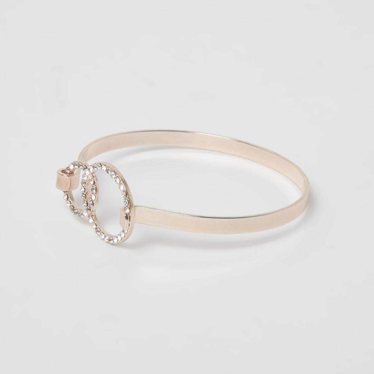 Rose gold tone diamante pave circle bracelet