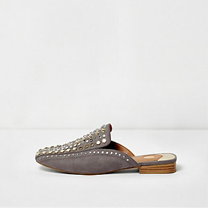 Grey mixed stud backless loafer