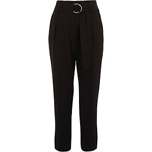 Black ring tie belt tapered trousers