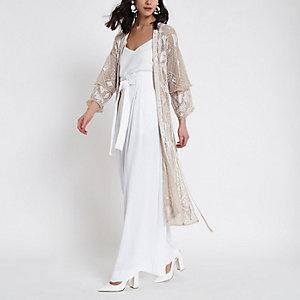 Verzierter Kimono in Rosa