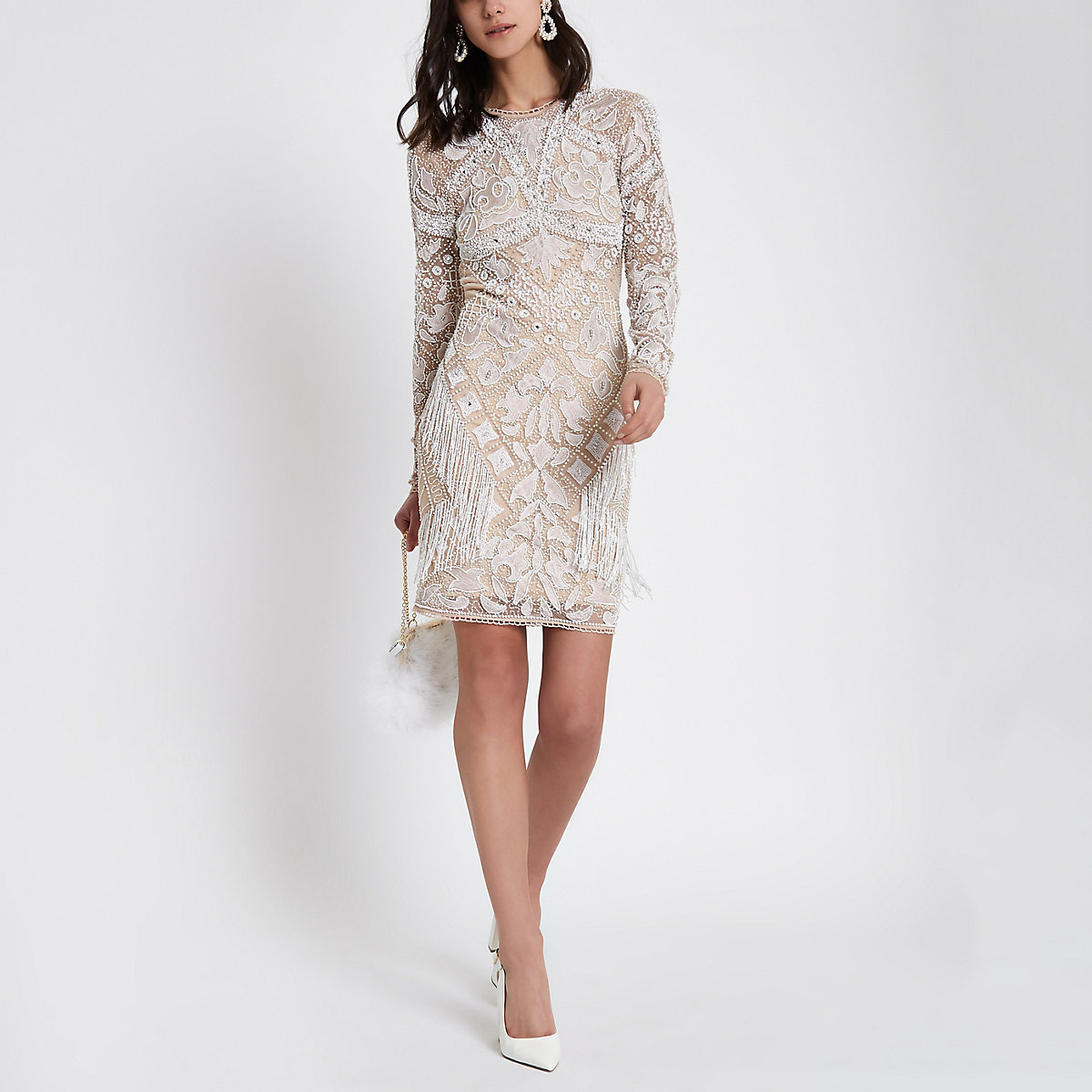 2805cc22759 Beige embellished long sleeve bodycon dress - Wedding Guest Dresses    Outfits - women