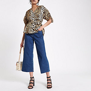 Dark blue Alexa cropped wide leg jeans