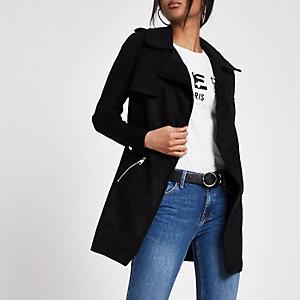 Black faux suede longline trench jacket
