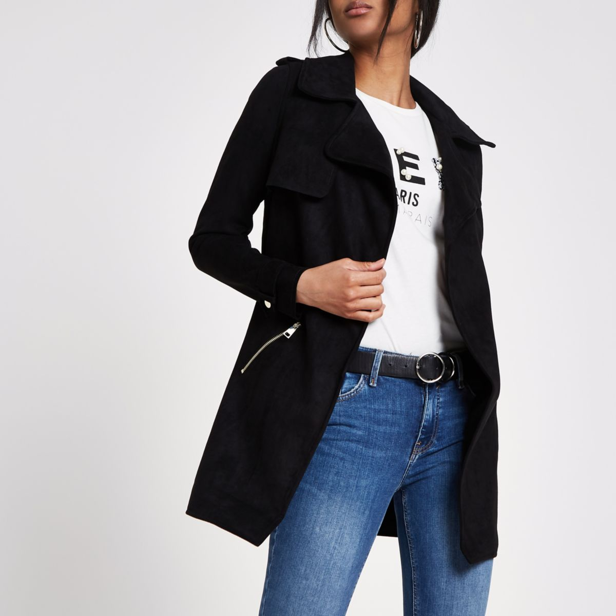 Black faux suede longline trench jacket