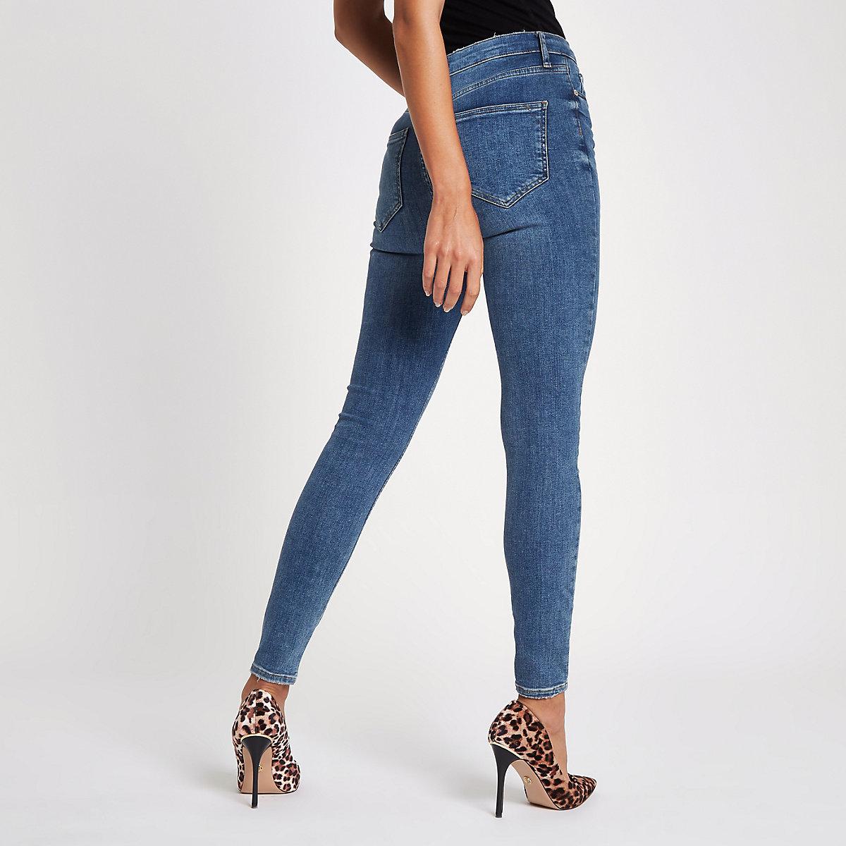 Mid Women Skinny Jeans Waisted Blue Harper High pYpq7r