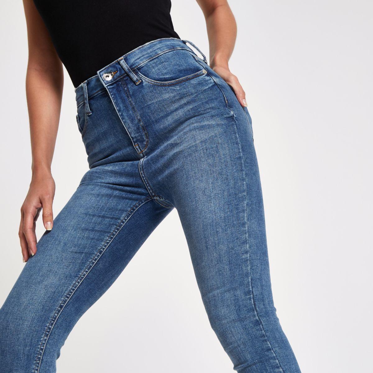 Harper – Jean skinny bleu mi-délavé taille haute