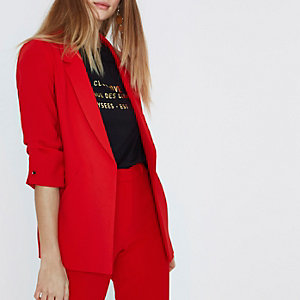Red bar cuff blazer