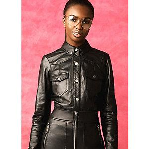 Black RI Studio leather long sleeve shirt