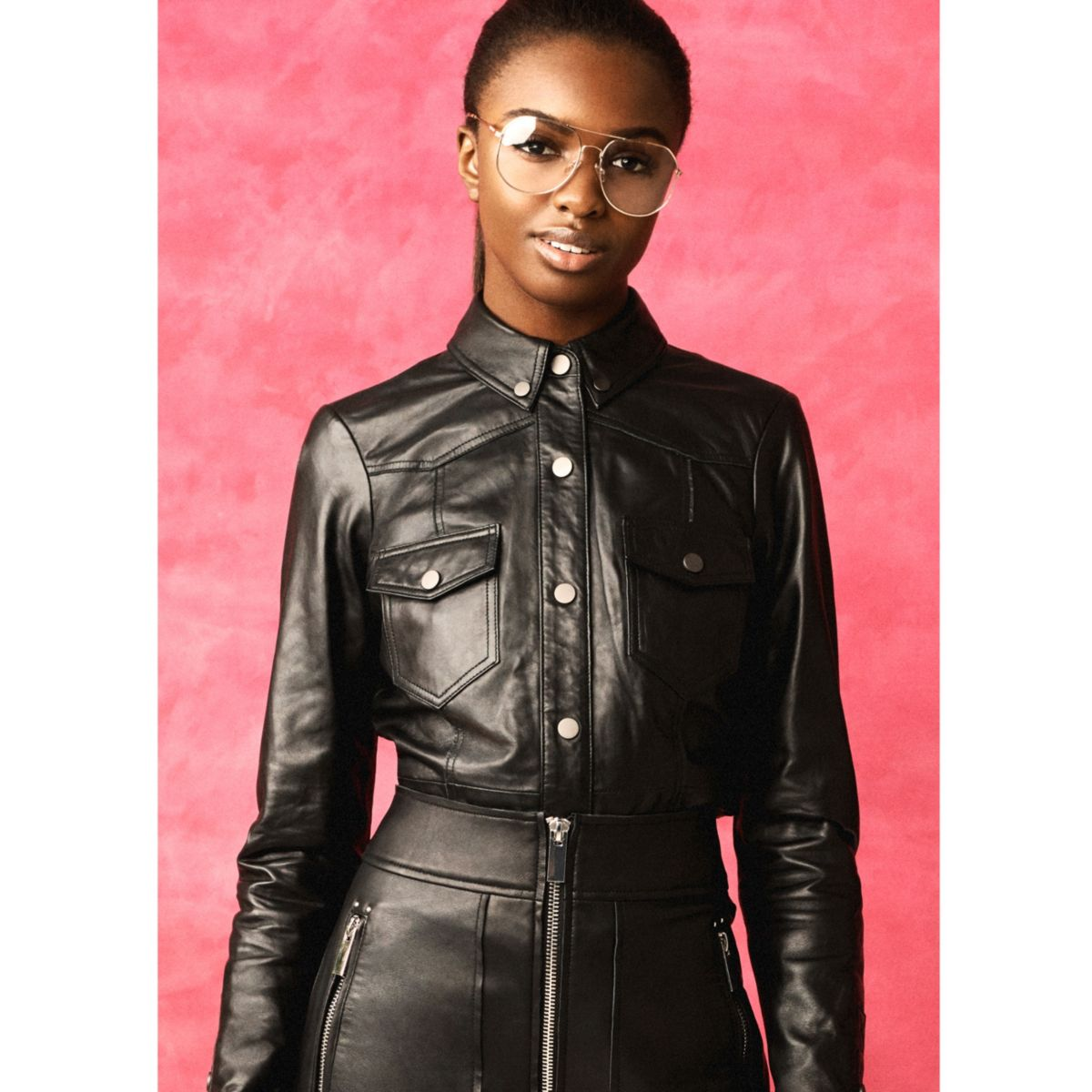 Black RI Studio leather long sleeve shirt