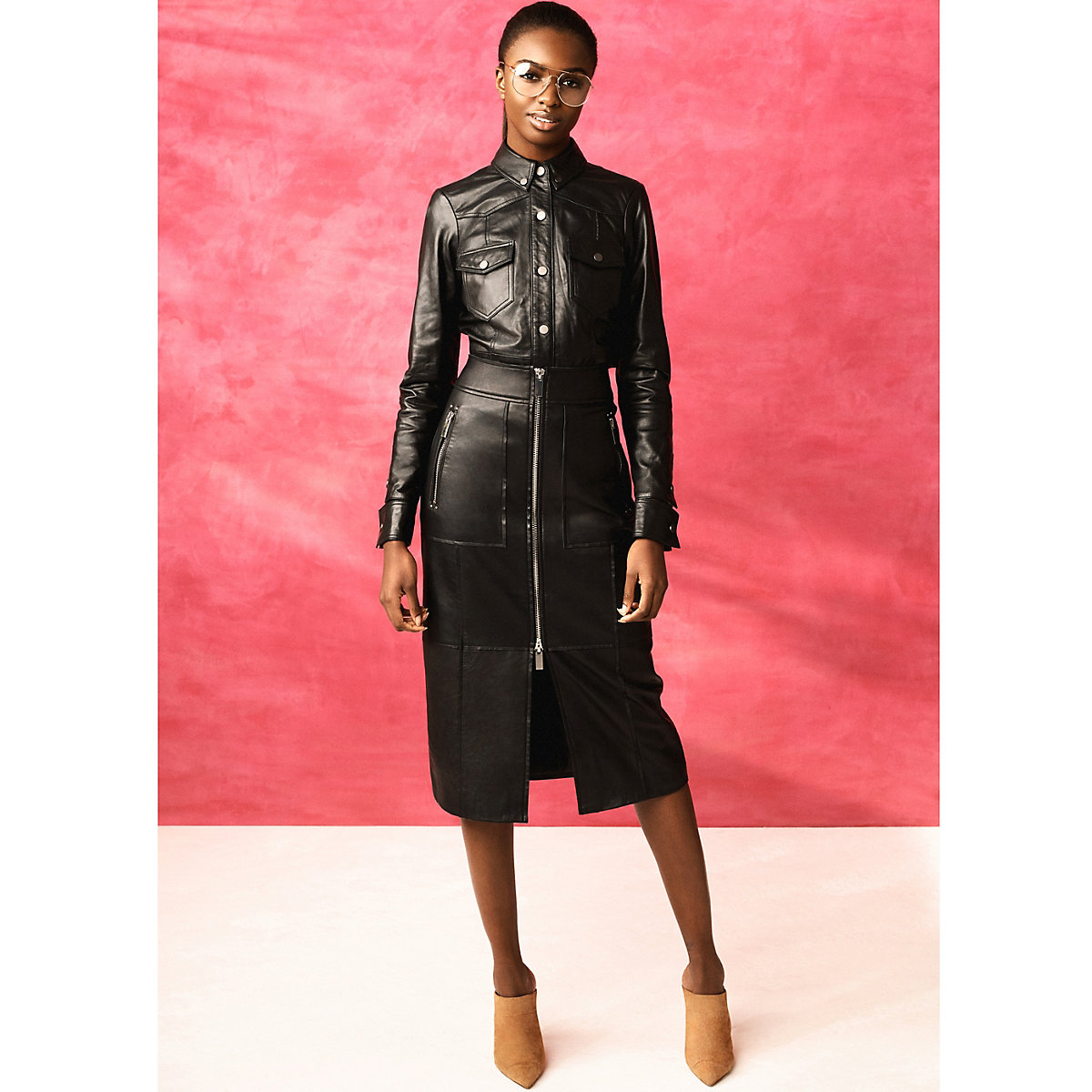 Black RI Studio zip leather pencil skirt