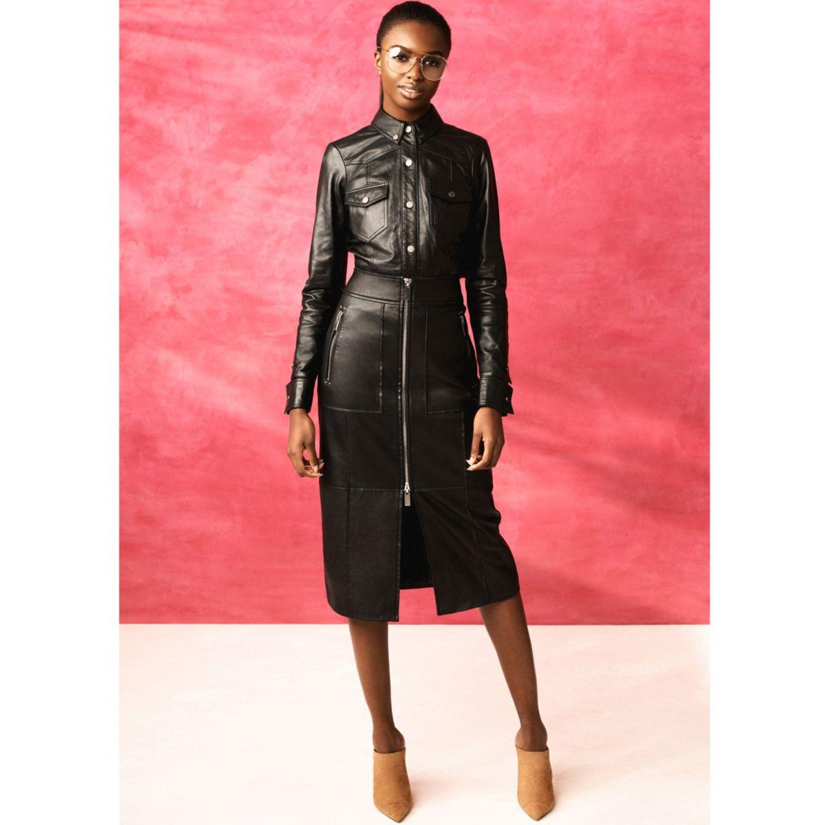 Black RI Studio zip leather pencil skirt