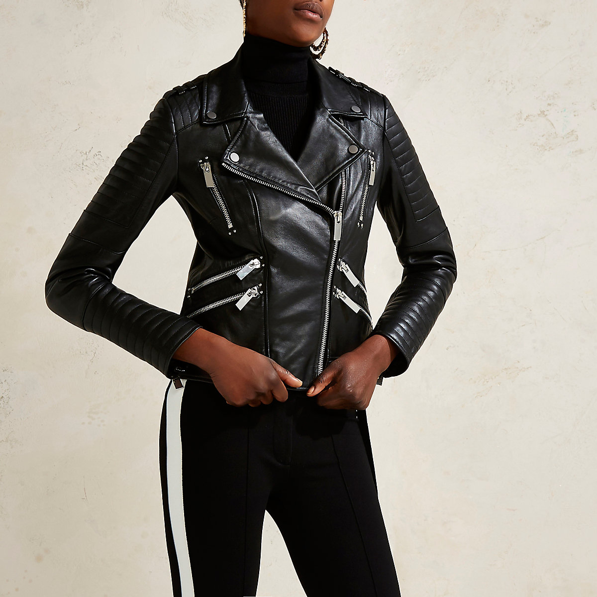 Black RI Studio leather quilted biker jacket