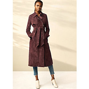 Dark red RI Studio suede trench coat