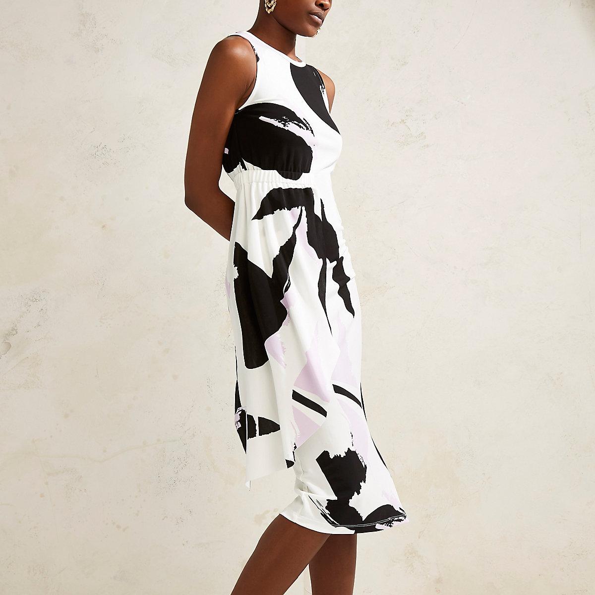 Cream RI Studio abstract print drape dress