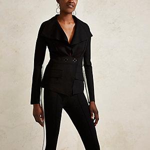 RI Studio - Zwart tailored jack met gestreepte mouwen