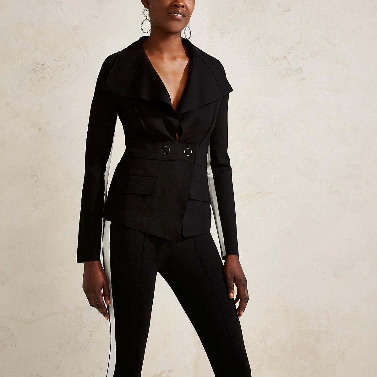 Black RI Studio tailored stripe sleeve jacket