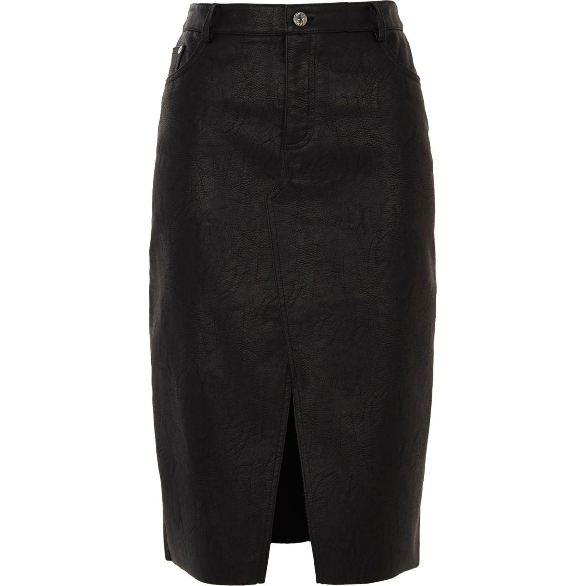 Black faux leather front split pencil skirt