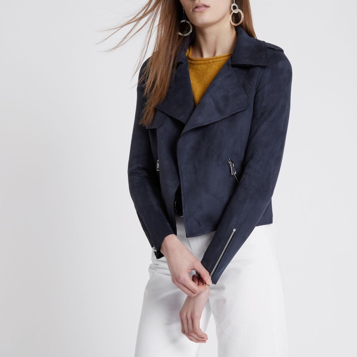 Navy faux suede cropped trench jacket