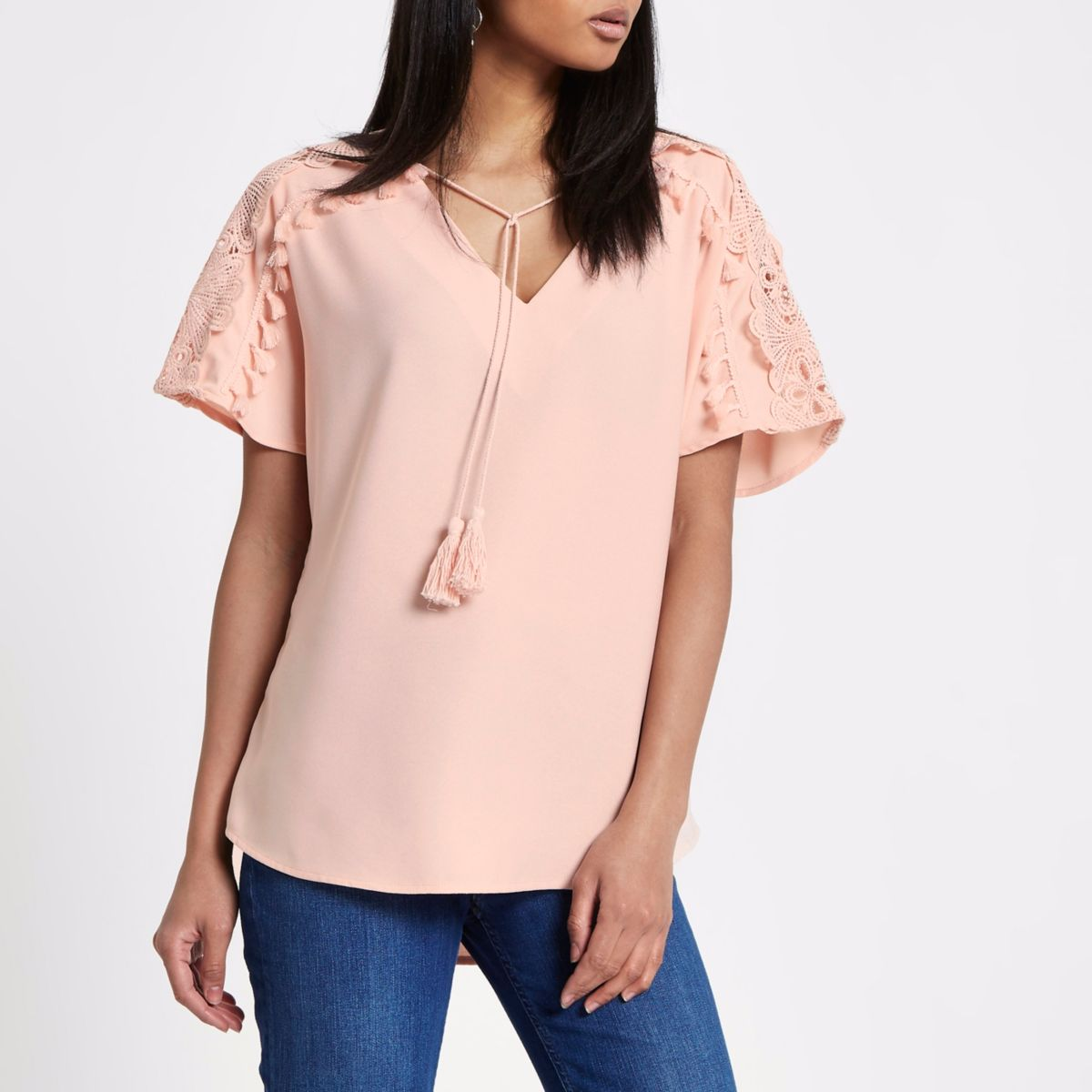 Light Pink Lace Trim Tassel Top by River Island