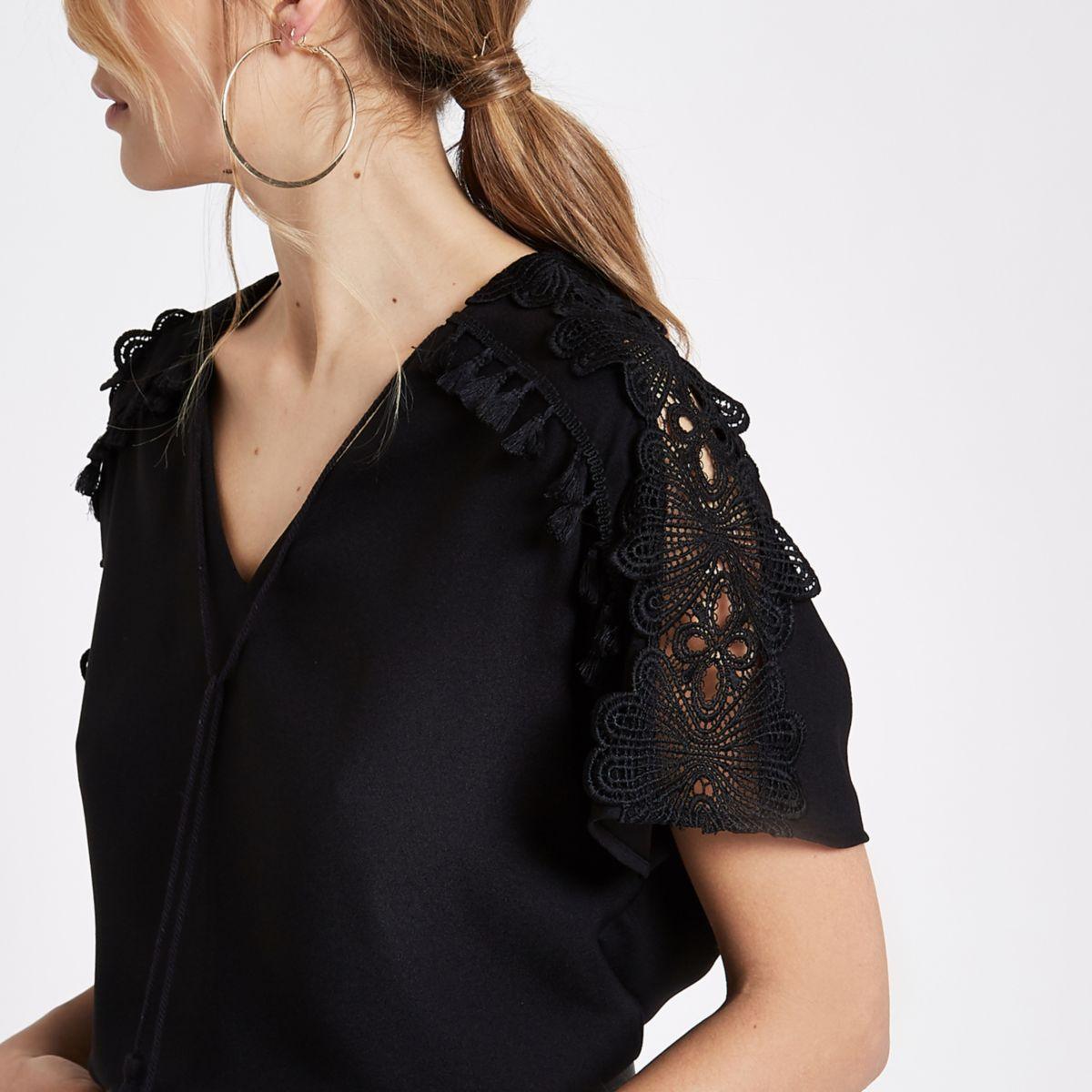 Black lace trim tassel top
