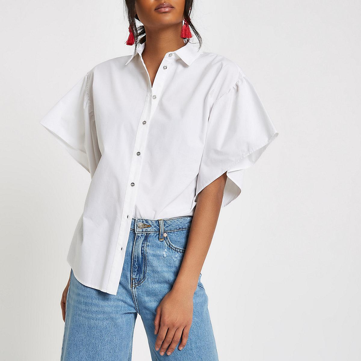White frill sleeve shirt
