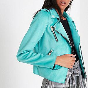 Turquoise blue faux suede biker jacket