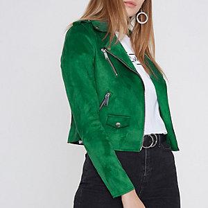 Dark green faux suede biker jacket