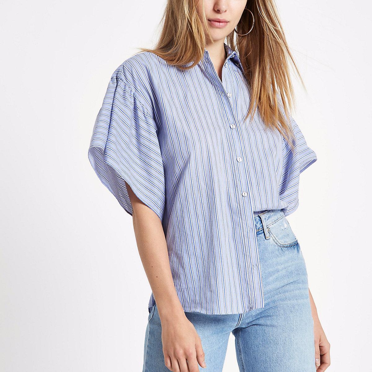 Blue stripe frill sleeve shirt
