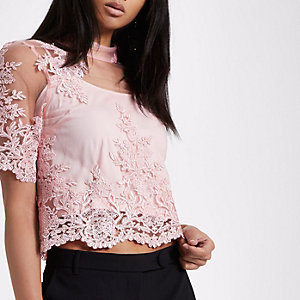 Pink high neck lace crop top